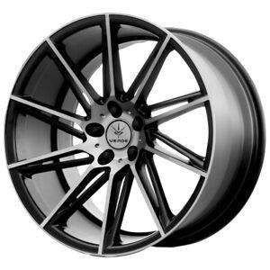 "4-NEW 20"" Inch Verde V25 Quantum 20x9 5x114.3 +20mm Black/Machined Wheels Rims"