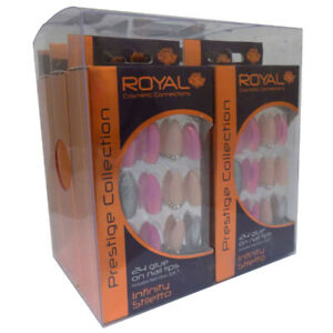 Royal Prestige Collection 24 Glue on Nail Tips Pack of 6