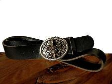Ledergürtel schwarz Büffel Vintage Gürtelschnalle Lilie Buckle Fleur de Lis 4cm