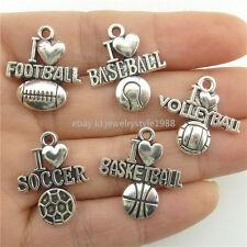 20pc Alloy I Love Volleyball Sports Baseball Football Soccer Basketball Pendants