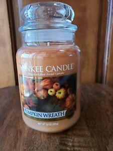 Yankee Candle Pumpkin Wreath Large 22 oz Candle Burns 110-150 Hrs