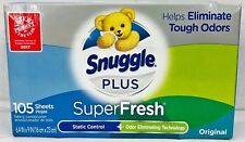 Snuggle Plus Super Fresh Fabric Softner Dryer Sheets Everfresh Scent 105 ct