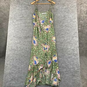 Auguste the Label Womens Wrap Dress Size 10 Green Floral Sleeveless 317.13