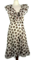Coast Size 10 Spotty Cream Polka Floaty Wrap Around Dress Silk Blend Frill Party