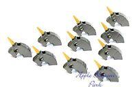 NEW Lego Lot/10 Castle Dark Gray Minifig HORSE BATTLE HELMET w/Gold Horn Weapon