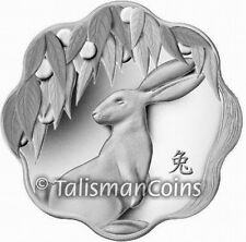 Canada 2011 Year of Rabbit Chinese Lunar Zodiac $15 Lotus Shaped Silver Proof