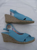BNWT Ladies Sz 6 Stunning Aqua Rivers Brand Wedge Heel Classy Summer Sandals