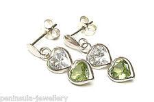 9ct White Gold Peridot Heart Drop Earrings Gift Boxed