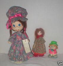 3 vintage 1970's papier mache-wood-composite dolls - 1 mkd.Japan