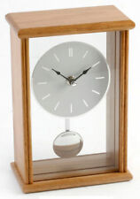 Wm Widdop. Modern Oak Wood Glass Moving Pendulum Mantel Clock Swinging Mantle