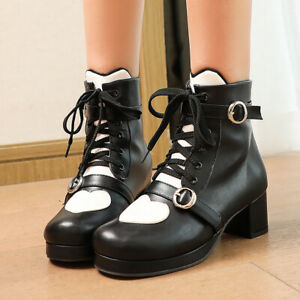 Women's Ankle Boots Sweet Lolita Square Heel Round Toe Lace-up Booties Shoes