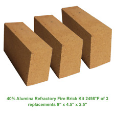 40% Alumina Refractory Fire Brick Kit 2498°F of 3 replacements 9