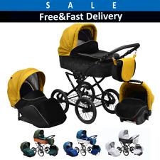 Baby Pram Stroller Buggy Pushchair Car seat Classic Retro Style Travel system 31