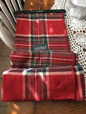 NEW POLO RALPH LAUREN THROW BLANKET Red TARTAN  Plaid 100% Cotton