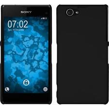 Hardcase für Sony Xperia Z1 Compact Hülle schwarz gummiert + 2 Schutzfolien