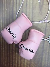 Baby Pink Mini Boxing Gloves Painted with Girls name of your choice