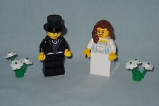NEW CUSTOM LEGO WEDDING BRUNETTE HAIR BRIDE AND GROOM WITH TOP HAT MINIFIGURES