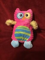 Dan Dee Collector's Choice Owl Plush Stuffed Animal Toy Pink Green Blue Stripes