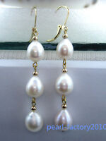 new 10-12MM AAA PERFECT south sea white  pearl earrings 14K  GOLD