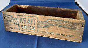 Vintage Antique 2 lb Kraft Brick Cheese Advertising Wood Wooden Box