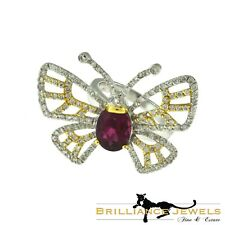 Magnificent Butterfly Diamond & Rubellite Ring 18k Yellow & White Gold, 4.1 TCW