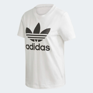 Adidas Women's Trefoil Tee Shirt, White/Black