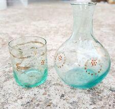 Vintage Scarce Unique Hand Painted Glass Tequila Shot Mini Tumbler & Pot