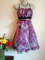 NEW Floral Dress Size 10 Monsoon Silk Pink Grey Cocktail 50s Fit Flare Swing Fun