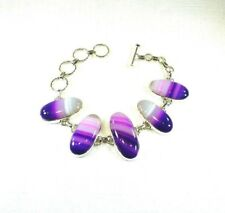 Purple,Pink & White Natural Botswana Agate Solid Sterling Silver Toggle Bracelet