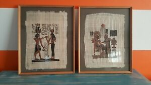 2 Unusual Stunning Egyptian Hand Painted Genuine Papyrus Pictures Paintings...