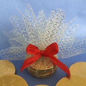 10 Christmas Tree Or Table Decorations Gifts Gold Mesh Red Ribbon Wedding Favour