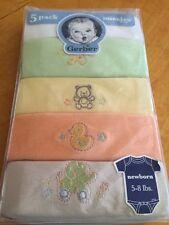 Gerber Unisex Baby 5 Pack Onesies  Newborn