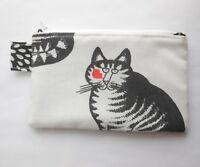 Wallet B Kliban Cat Vintage Handmade Kiss Cotton Coin Zipper Purse Small Pouch