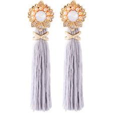 Boucles d'Oreilles Doré Pompon Tassel Long Gris Cristal Opale Mini Perle XX25