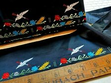 VINTAGE JQ 1940's EMBROIDERED Silk 3 5/8x4 3/4 FRANCE RIBBON 1pc Flowers Bird