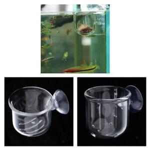 2x Fish Feeder Aquarium Clear Live Red Worm Bloodworm Food Feeding Cup