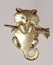 Gold Cat Lapel Pin Hanging on a branch Vintage 1990's Broche Good Shape
