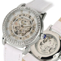 SHENHUA Skeleton Crystal Deco Women Self-Wind Mechanical Wrist Watch Leather