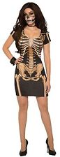 Ladies Womens Halloween Costume Dress Skeleton Bone Scary Outfit