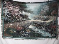 USA Made NWT Thomas Kinkade Bridge Of Faith Tapestry Throw Blanket Afghan #329
