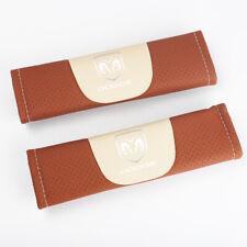 2Pcs Brown Color Car Seat Belt Shoulder Cushion Cover Pad Fit For Dodge Auto