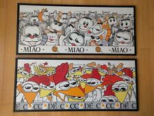 Asenauer pop art 90's original framed vintage print cartoon chicken cats Italy