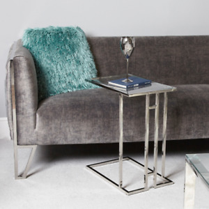 Brand New Contemporary Clear Glass Chrome Side End Sofa TV Dinner Laptop Table