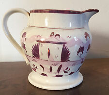 19th c. English Pearlware Pink Luster Jug Pitcher Milk Lustre Staffordshire