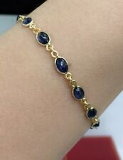 "14k Solid Yellow Gold Cute Tennis Bracelet, Natural Sapphire  7"", 4.52 Grams"