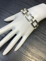 Vintage Wide Open Square Link Chrome Silver Open Link Bracelet Box Clasp 7.5""