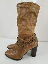 Nice! A.N.A. Womens Tan Moto Buckle Boots Heels Leather Mid Calf Slouch Size 6.5