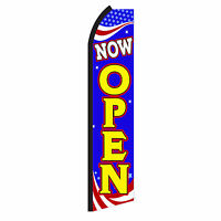 NOW OPEN  Advertising Flutter Feather Sign Swooper Banner Flag Only