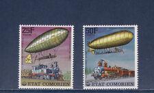 tcb/   Comores  train et dirigeable    d  1977    20f et 25f   num:  179/80   **