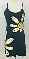 VTG 90s Y2k Victoria Black Daisy Print Strappy Dress Womens Sz S Made in USA